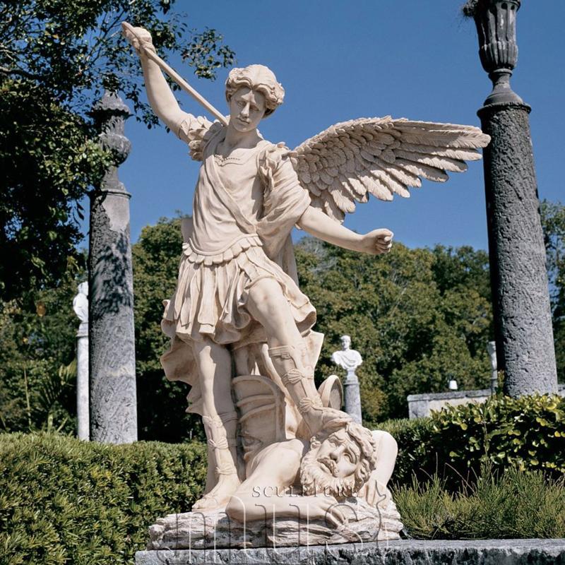 Famous Sculpture Hand Carved Marble St Michael Archangel