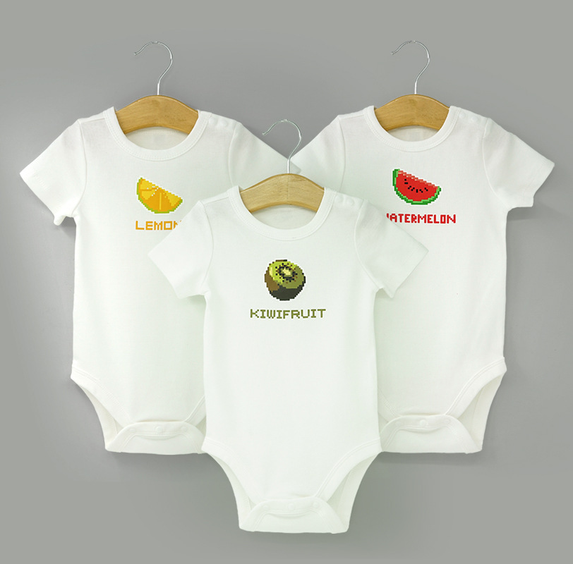 Hot Sale summer Baby Products three packs fruit print short sleeves Orgainc Cotton Baby Romper Clothes From China
