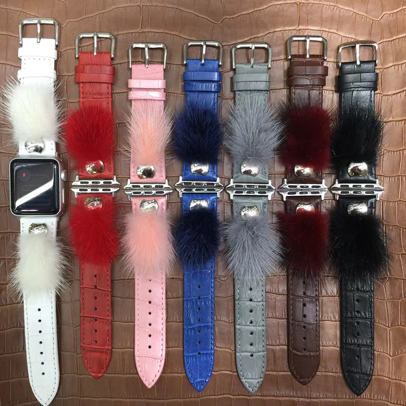 Woman Bracelet ,Genuine Leather Fur Ball Watch strap, for Apple Watch Series 1/2/3/4
