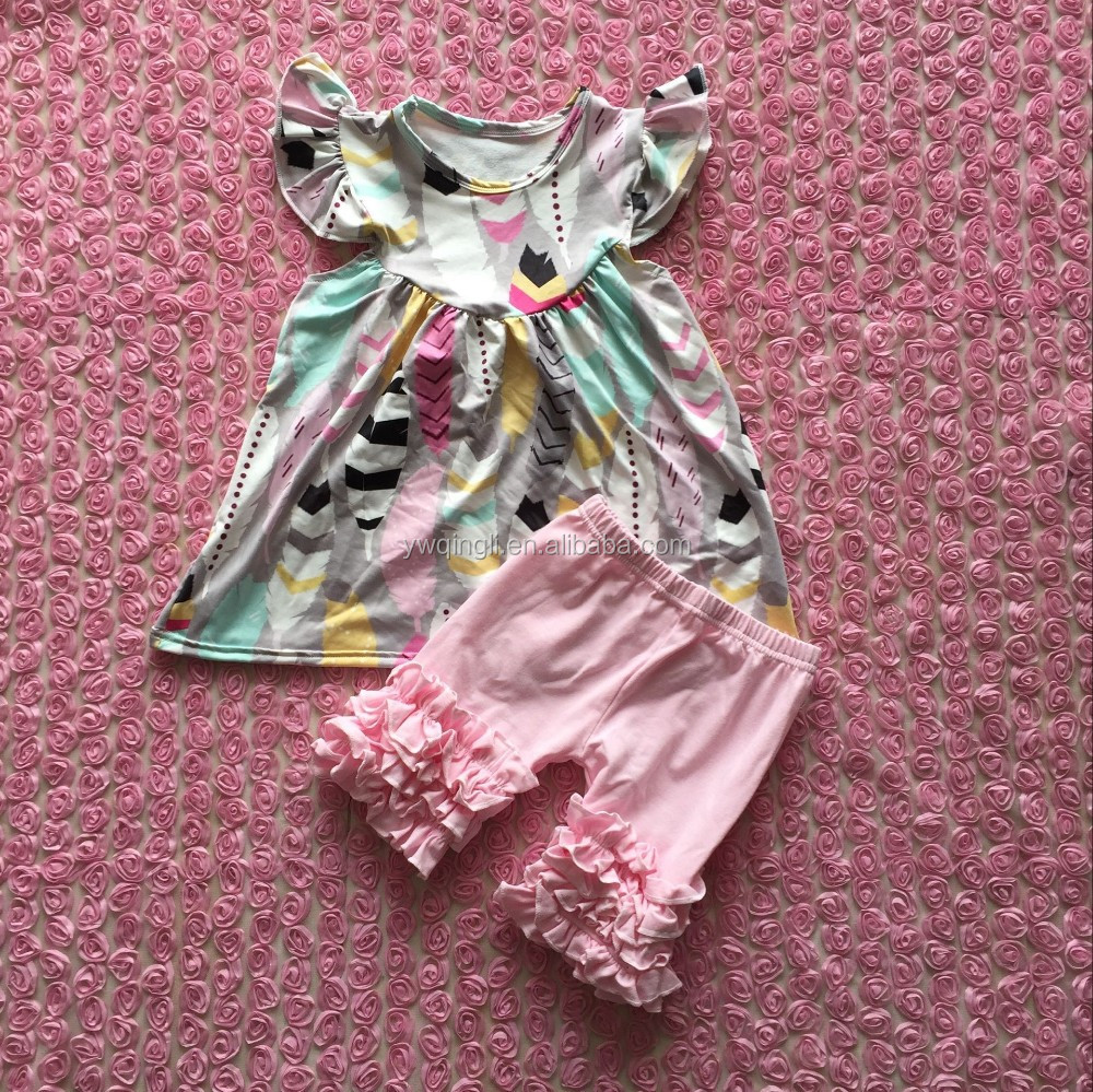 2016 new arrival baby feather pearl dress mathcing aqua icing shorts sets baby summer outfit