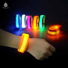 Top sell party gift nylon flashing Bulk charm led wristband