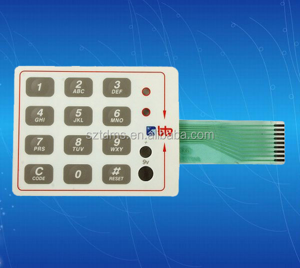 Polydome Tactile Membrane Switch with Embossing Circuit Layer and face Plate