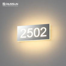 Stainless steel interior number sign LED wall lighting for hotel doors