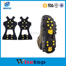 wisetop Ice and Snow Grips Over Shoe/Boot Traction Cleat Rubber Spikes Anti Slip 10-Stud Crampons Slip-on Stretch Footwear