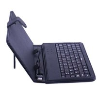 "New 7"" Magnetic Flip Leather Bag Cover Case for Tablet PC/Ebook Reader with USB Keyboard and Stylus Black"