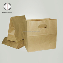 Recyclable FDA, FSC certificated die cut handle paper bag for french bread/sandwich packaging