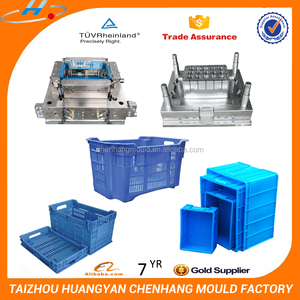China new design injection turnover box plastic crate mold