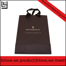 Customized logo silver hot-stamping logo luxury paper gift bags wholesale,paper bag printing with cotton handle