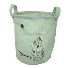 Natural Round Cylindrical Shape Cotton Bag With Handles