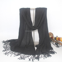 Hot selling warm black color big indian fake cashmere scarf