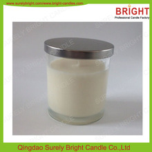 Fashion White Scented Soy Wax Candle In Glass Jar For Wholesale