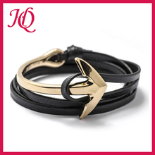 Wholesale trending fashion men leather anchor bracelet jewelry on alibaba.com