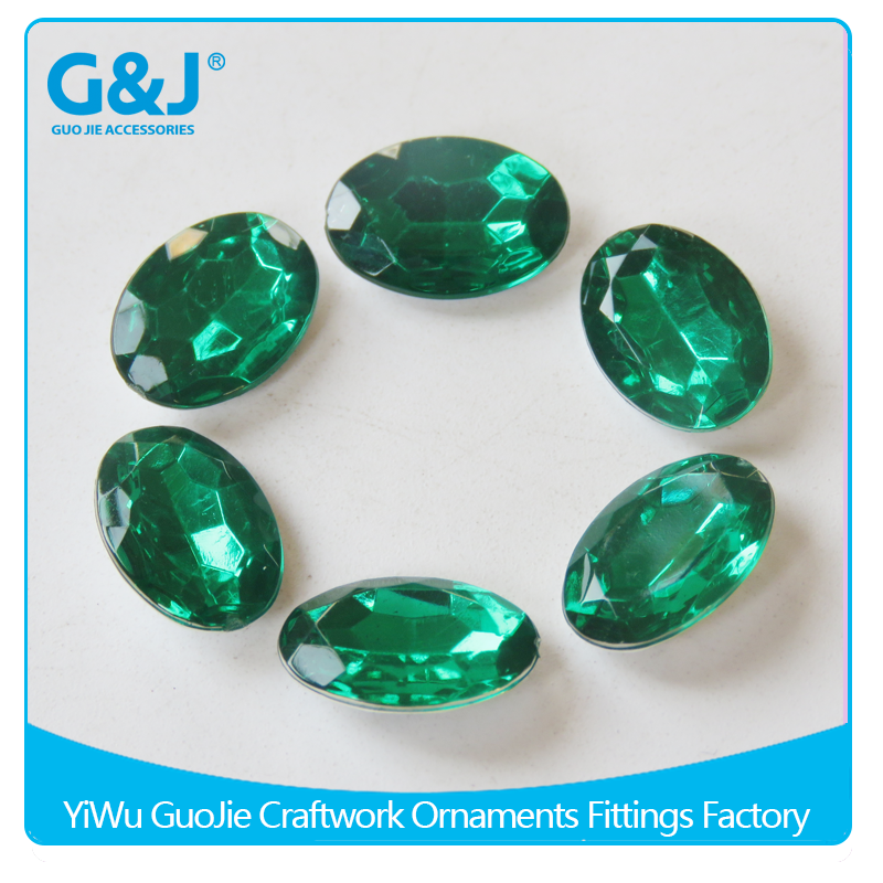 GuoJie brand wholesale top quality Eco-friendly material oval shape acrylic stone crystal beads