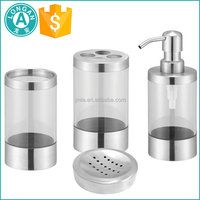 factory low moq 4pcs stainless steel hotel balfour soap dispenser bathroom set price