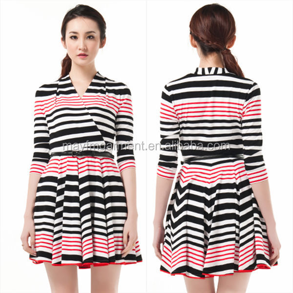 simple v-neck black and red strip dress/girls frock designs