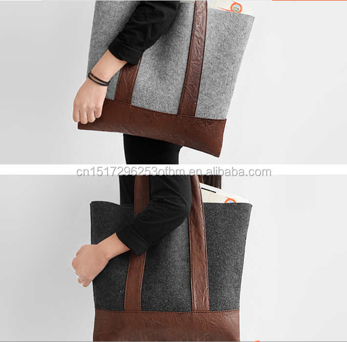 Simple personality felt shoulder bag Shopping Tote Bag Handbag fashion women lady daily working bag