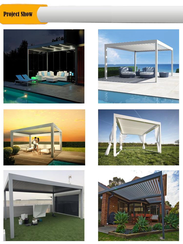 Motorized metal roof gazebo pergola for house