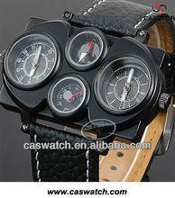 Fashion double movements leather strap sport watch with temperature compass function