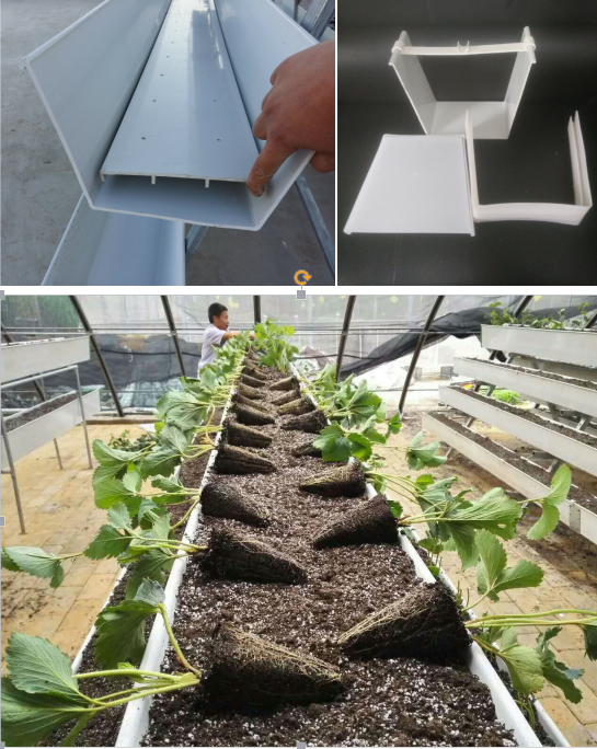 2017 New design Greenhouse PVC NFT hydroponics plant growing trays gutter
