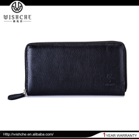 Wishche W2151 High Quality Lady Purse Clutch Bag Black Leather Women Clutch Wallet
