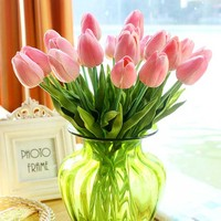 34cm high PU artificial flower mini tulip for wedding table decoration