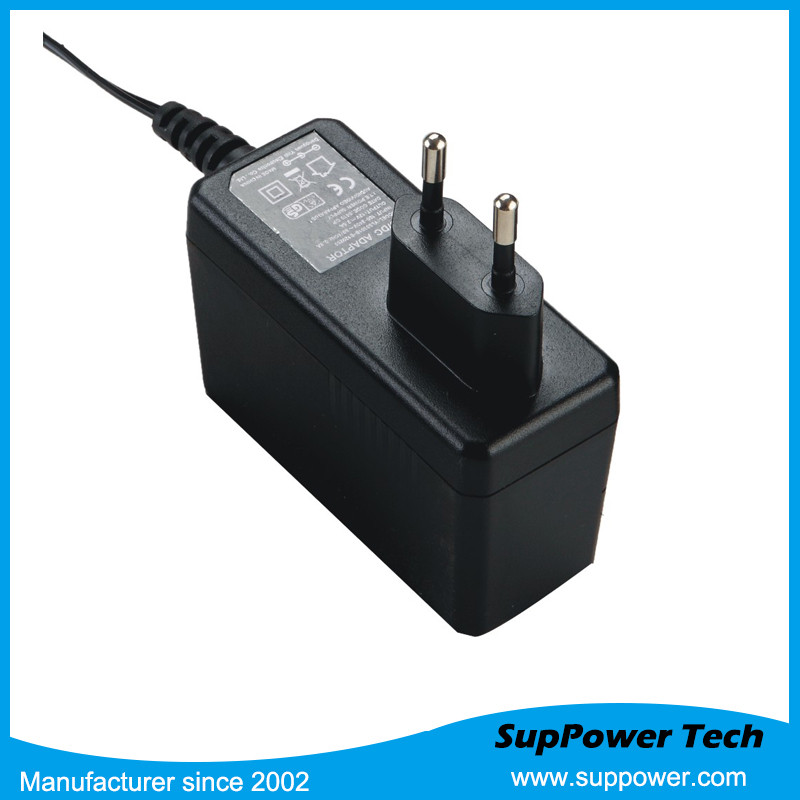 24W 24v 1a ac/dc eu plug adapter smps switching power supply with on-ff switch adapter with FCC SAA GS CB certificates