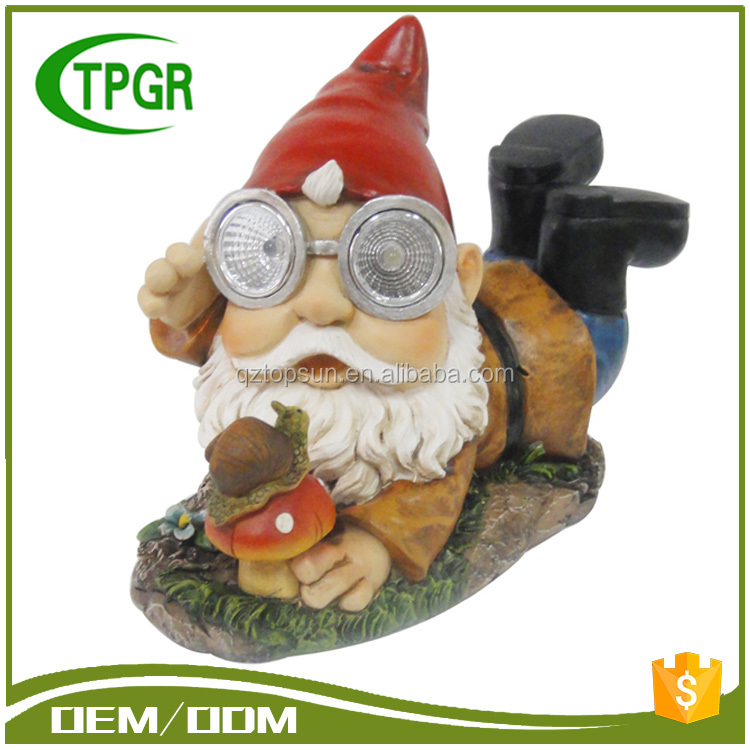 Polyresin Craft Wholesale Manufacturers Funny Mini Small Resin Garden Gnome Door Unpainted Gnome Polyresin Figures With Lantern