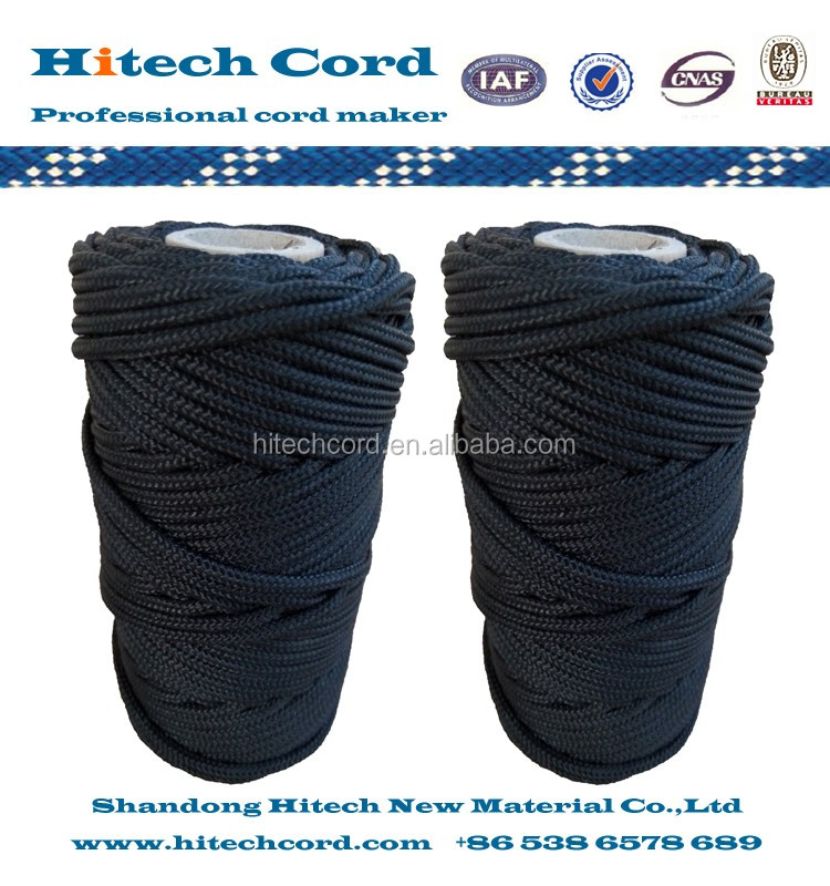 3mm 16 strands Black color Braided Nylon Rope Twine