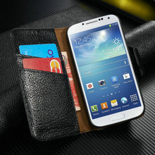 High quality 100% good fit for Samsung Galaxy S4 genuine leather wallet case pouch for Samsung Galaxy S4