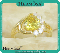 Hermosa Jewelry Luxury Wedding Gold Ring Trendy Yellow White Topaz Woman Rings 2015 In Silver Jewelry Q8804