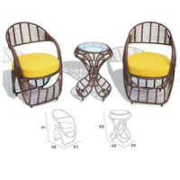 PE Wicker 2pcs chairs 1pc table set Indian Modern Dining Room jepara indonesia furniture TCD1006