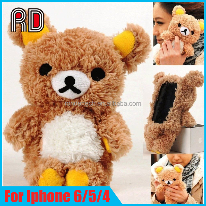 2017 New Product Lovely 3D Bear Plush Doll Toy Soft Phone Case For Iphone 4 4s 5 5s 6 6 plus