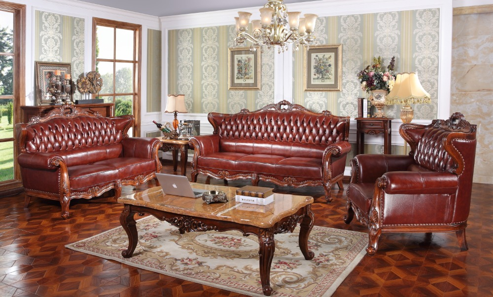 Living room furniture genuine leather sectional wooden carving sofa