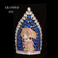 "12"" Custom Rhinestone Cartoon Boy Dog Pageant Crown And Tiara"