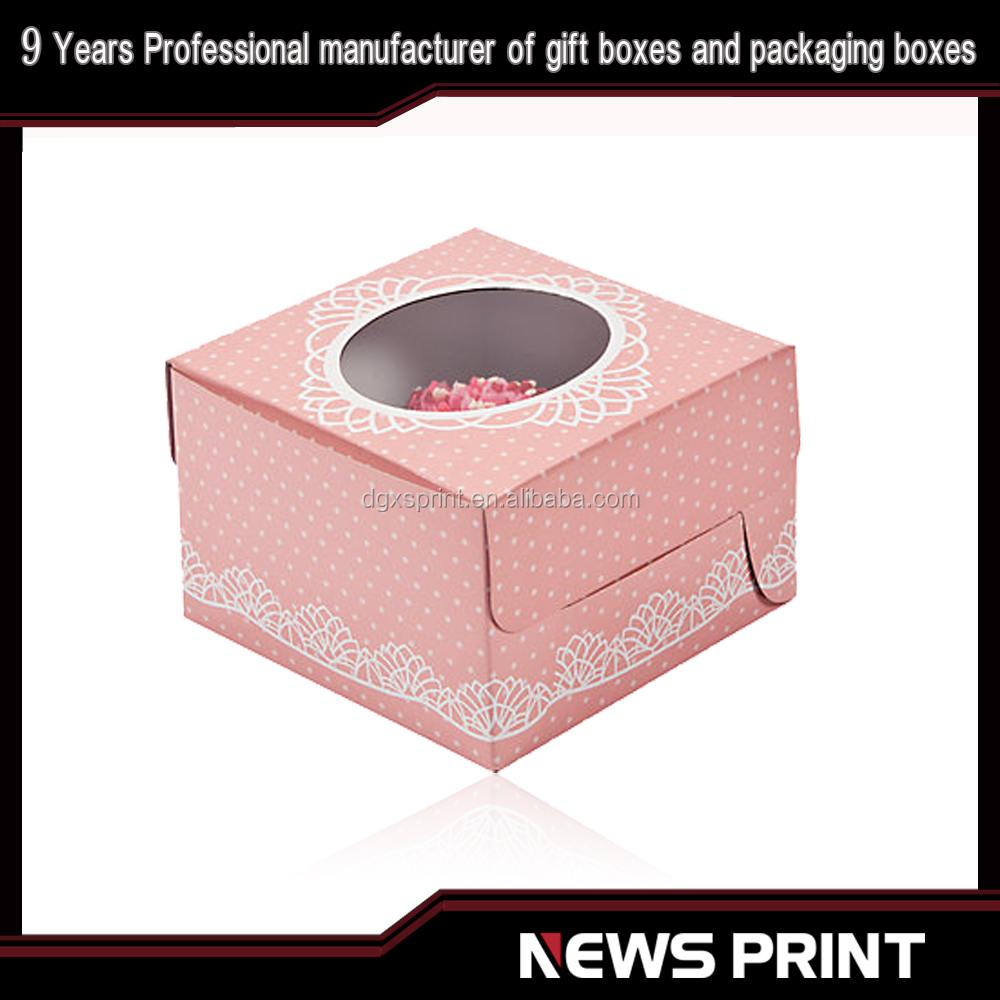 2016 custom Best price decorative cup cake box with window China supplier