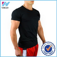 Yihao Men's Custom High Quality Fitness Bodybuilding muscle T Shirts blank cotton and spandex running sports tee shirt for Men