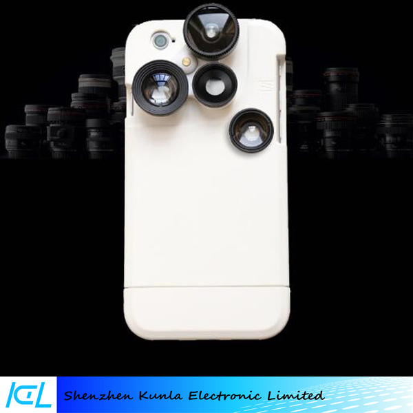 Macro + wide-angle + tele 2x + fisheye lens 4-in-1 rotation lens with mobile phone case for iPhone