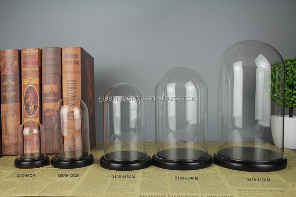 Wholesale Small Glass Dome With Wood Base For Display
