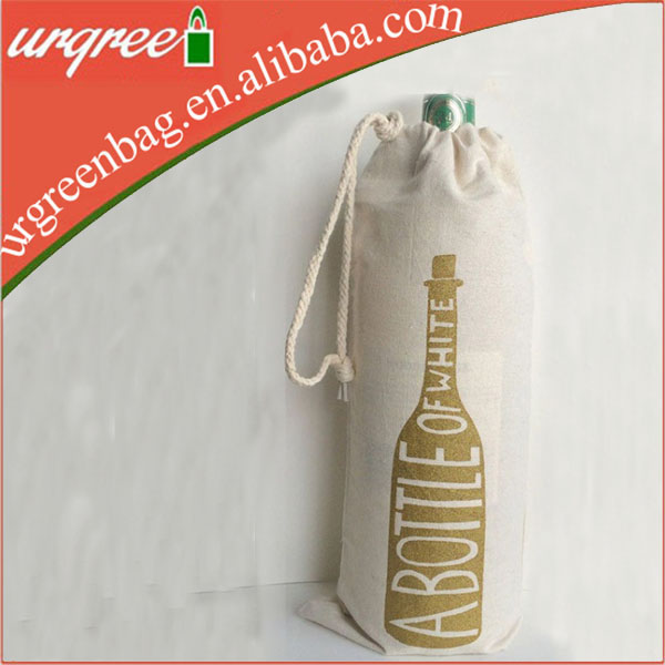 Custom logo cotton canvas wine bag for christmas gift