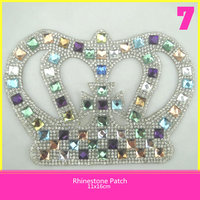 Fashion Design Hotfix Glass Rhinestone Patch 11.5*16.5cm Colorful Rhinestone Crown Applique for Decoration