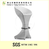 Alibaba supplier Patio rattan furniture Foshan furniture bar table wicker outdoor white rattan bar stool chair