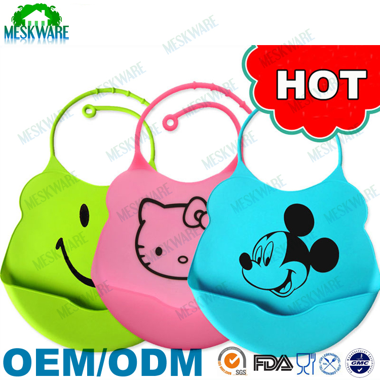 2015 new design cartoon print large adult baby bib silicone