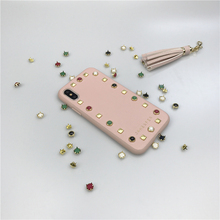 OEM ODM custom design PU material pink leather case for iPhone x with rivet