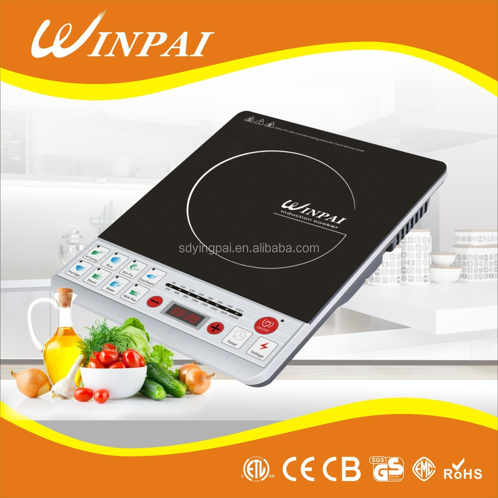 High Quality Push Button Black Crystal Glass Surface Induction Cooker
