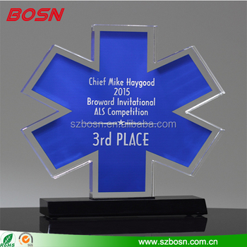 Hot sell star shape blank acrylic award lucite Perspex trophy design