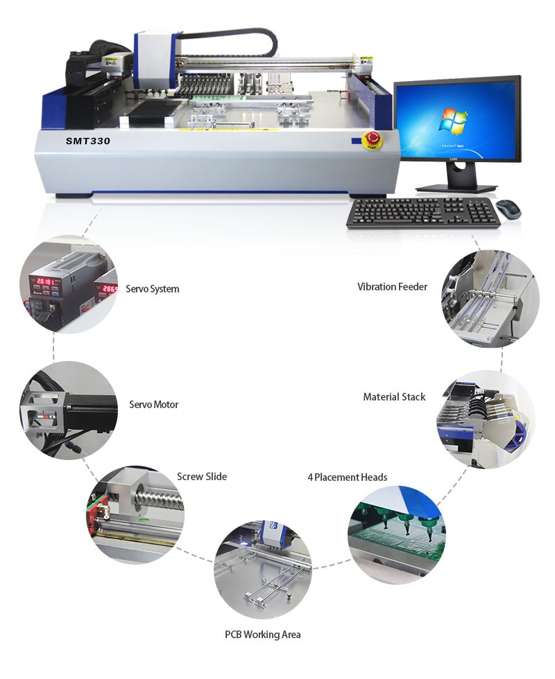 2016 The best price SMT Equipment Led Manufacturing Machine SMT330 with Servo Motor+Guide Screw and Mark Vision System
