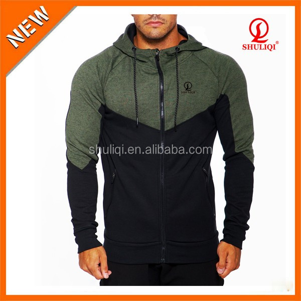 2016 new arrival two tone men fitted hoodies wholesale 65 cotton 30 polyester 5 spandex hoody