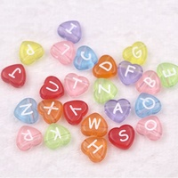Factory Wholesales Plastic Cheap Charming Transparent Acrylic Love Heart Shape Alphabet Beads