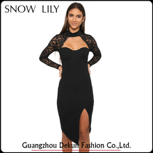 Fashionable office business black dress with long sleeve