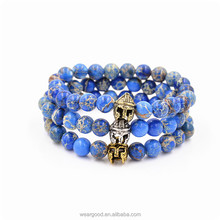 Weargood Wholesale high quality men's accessories natural stones warrior helmet beaded bracelets